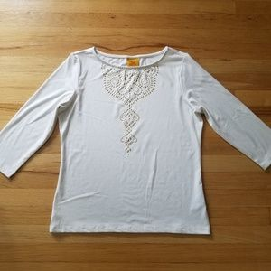 White 3/4 Sleeve Gold Beaded Boho Top - Medium